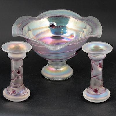 Freiherr Von Poschinger Iridescent Art Glass Centerpiece and Candlesticks
