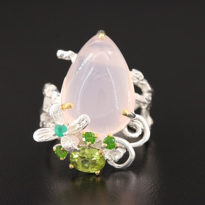 Sterling Silver Rose Quartz, Peridot and Diopside Ring