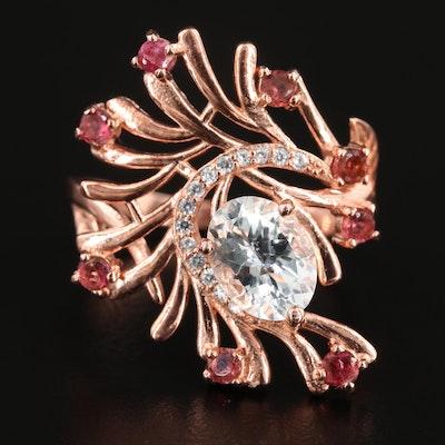 Sterling Silver Aquamarine, Glass, and Garnet Ring Featuring Foliate Motif