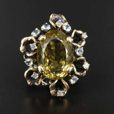 Sterling Silver Citrine and Blue Topaz Ring Featuring Natural Motif