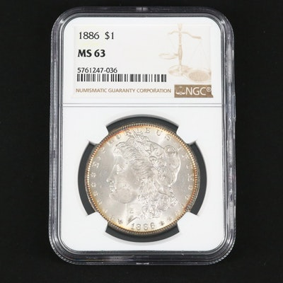 NGC Graded MS63 1886 Silver Morgan Dollar