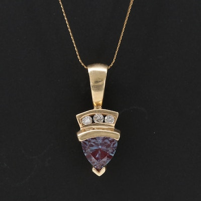 14K and 10K Yellow Gold Alexandrite and Diamond Pendant Necklace