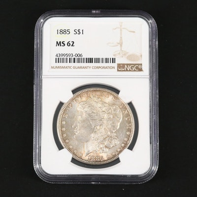 NGC Graded MS62 1885 Silver Morgan Dollar