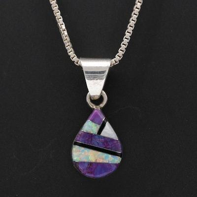 Sheryl Martinez Navajo Diné Sterling Silver Multi Gemstone Pendant Necklace
