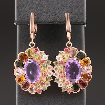 Sterling Silver Amethyst, Citrine and Peridot Dangle Earrings