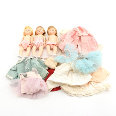 Hard Plastic Pigtail Dolls With Spare Clothing, 1950s