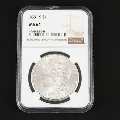NGC Graded MS64 1881-S Silver Morgan Dollar