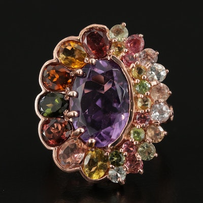 Sterling Silver Amethyst, Peridot, Citrine and Cubic Zirconia Ring