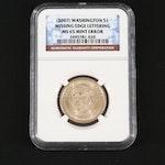 NGC Graded MS65 Mint Error George Washington Presidential Dollar