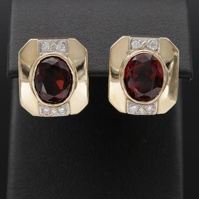 14K Garnet and Diamond Earrings