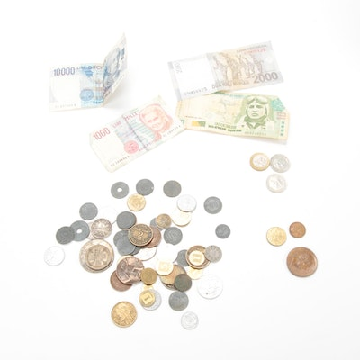 Fifty-Four World Coins and Four Foreign Banknotes