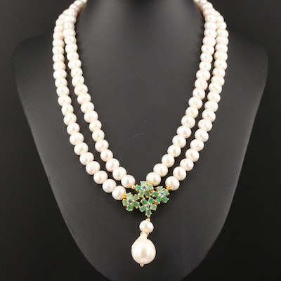 Sterling Silver Cultured Pearl and Gemstone Lavalier Necklace