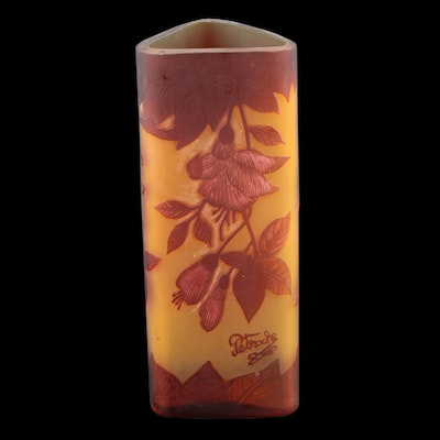 Petrache Romanian Floral Cameo Glass Vase, Early 20th Century