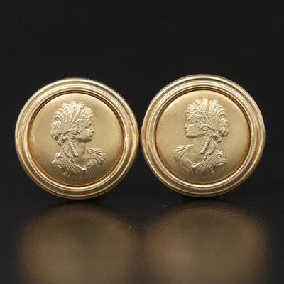 14K Pressed Gold Cameo Button Earrings