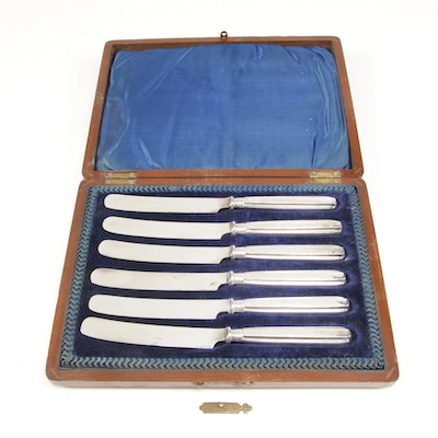 Charles William Fletcher Sterling Silver Knife Set in Presentation Case, 1910