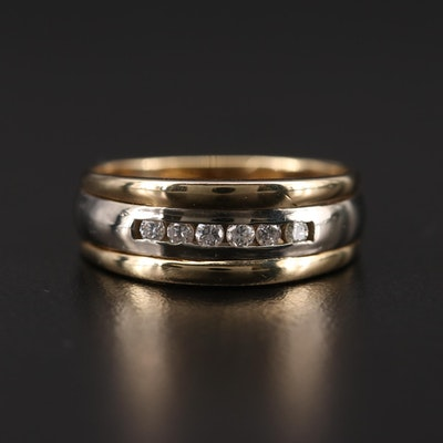 14K Yellow Gold Diamond Band with White Gold Accents