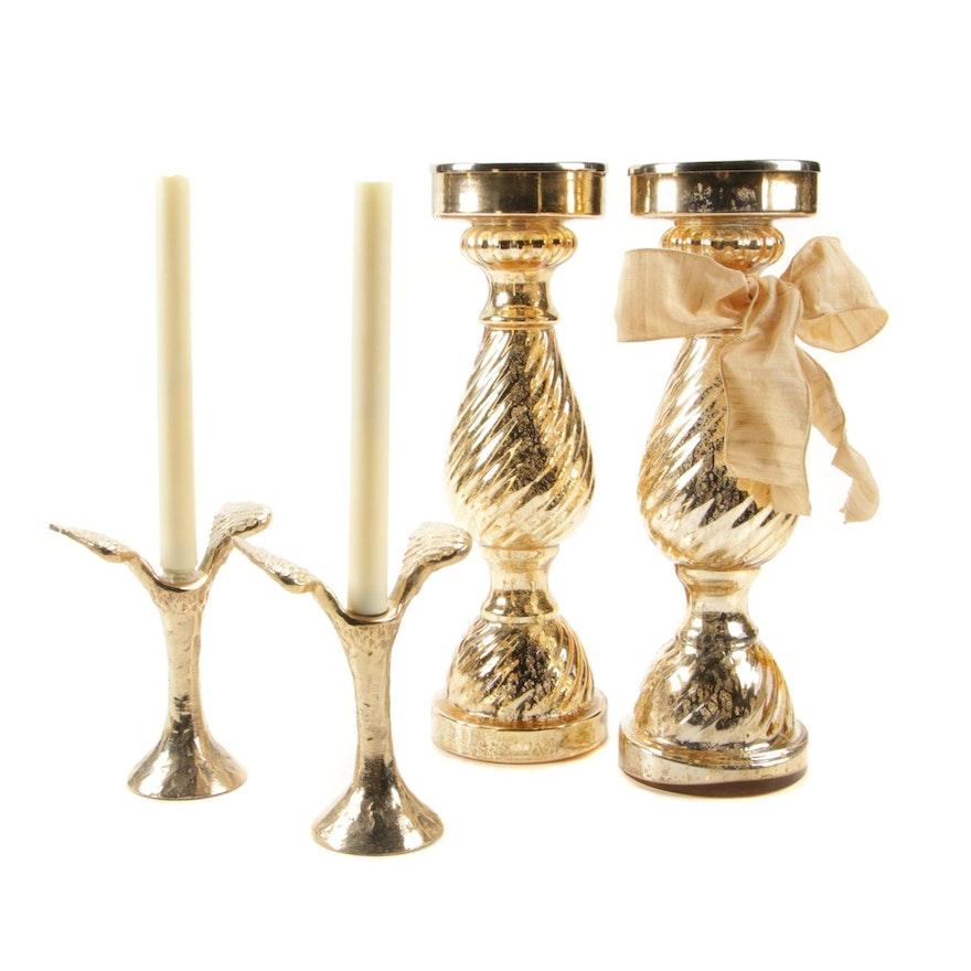 Gold Tone Mercury Glass Candle Pillars and LED Winged Candlesticks
