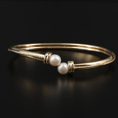 14K Yellow Gold Cultured Pearl Bypass Bracelet