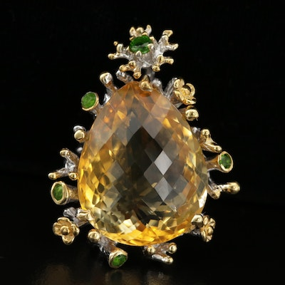 Sterling Silver Citrine and Diopside Pendant Featuring Natural Motif