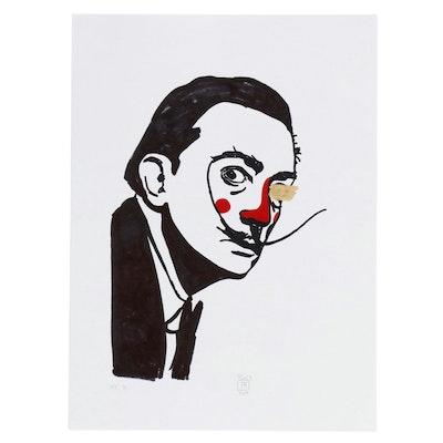 "Francois Aguiard Marker Portrait Drawing ""Salvador Dalí"", 2019"
