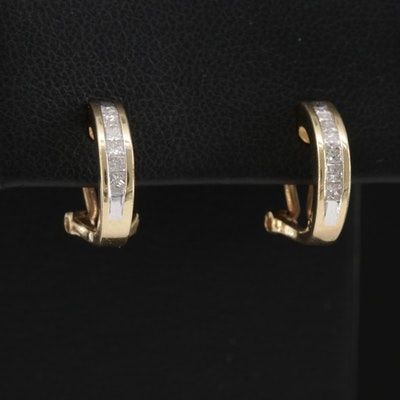 14K Diamond J-Hoop Earrings