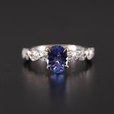 14K White Gold Tanzanite and Diamond Ring with Yellow Gold Head