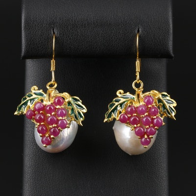 Sterling Silver Ruby, Cultured Pearl and Enamel Grape Dangle Earrings