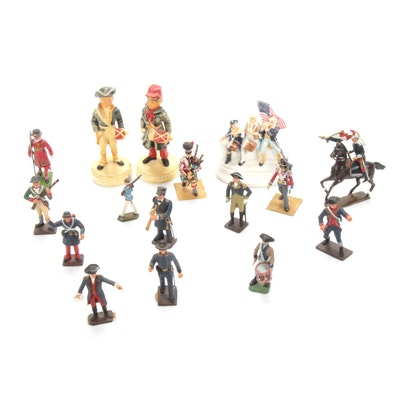 Hand-Painted Cast Metal and Porcelain Toy Soldiers, Vintage