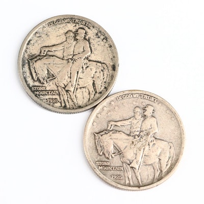 Two 1925 Stone Mountain Commemorative Silver Half Dollars