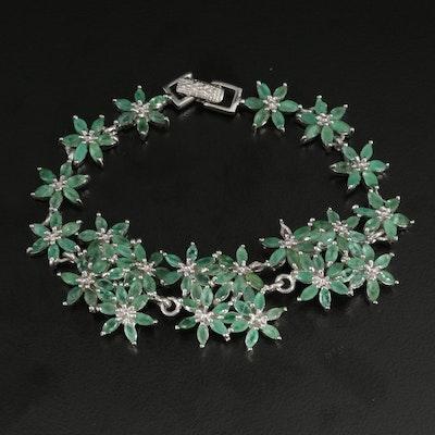 Sterling Silver Emerald Flower Bracelet