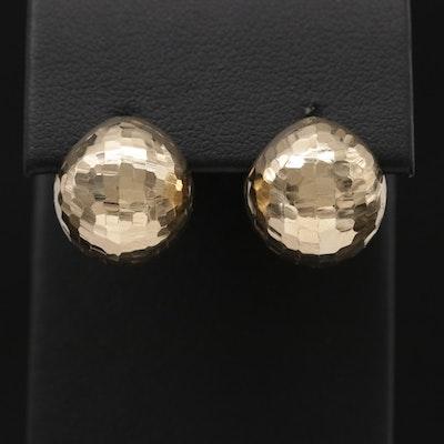 14K Yellow Gold, Diamond Cut, Faceted Globe Earrings