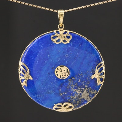 "14K Yellow Gold Lapis Lazuli ""Good Fortune"" Pendant Necklace"