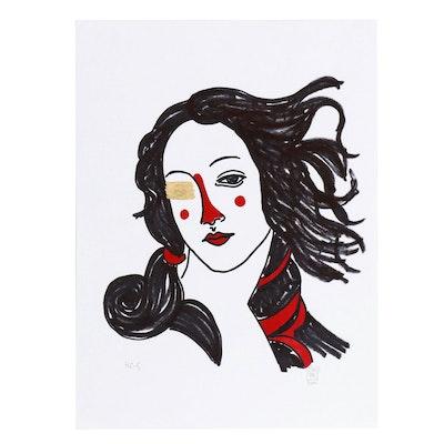 """Francois Aguiard Marker Portrait Drawing """"Venus"""", 2019"""