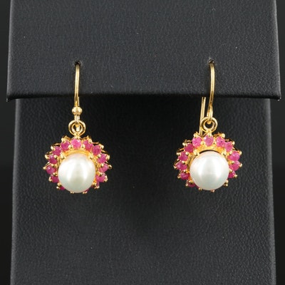 Sterling Silver Cultured Pearl and Ruby Dangle Earrings