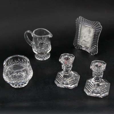 """Waterford Crystal """"Lismore"""" Creamer Set, Candlesticks and """"Easton"""" Picture Frame"""