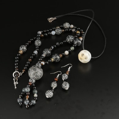 Onyx and Chalcedony Necklace and Earrings Set With Sterling Agate Necklace