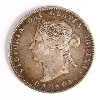 1872-H Canadian Silver Quarter