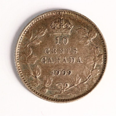 """1909 """"Broad Leaves Variety"""" Canadian Silver Dime"""