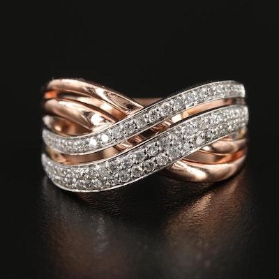 10K Rose and White Gold Diamond Ring
