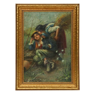 Sleeping Shepherd and Peasant Girl Oil Painting, 1957