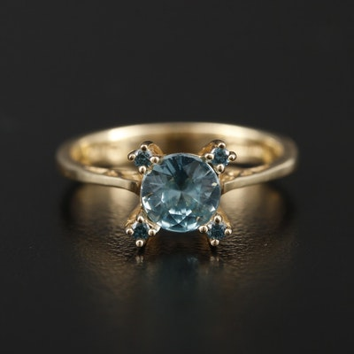 14K Yellow Gold Zircon and Blue Diamond Ring
