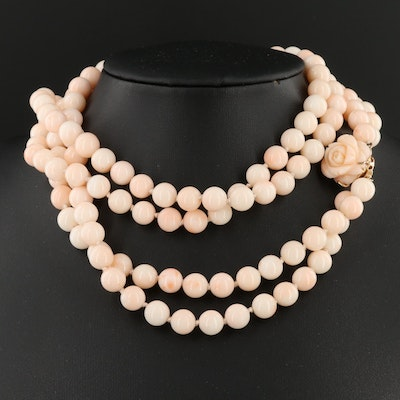 Hand Knotted Coral Double-Strand Necklace with 14K Gold Clasp