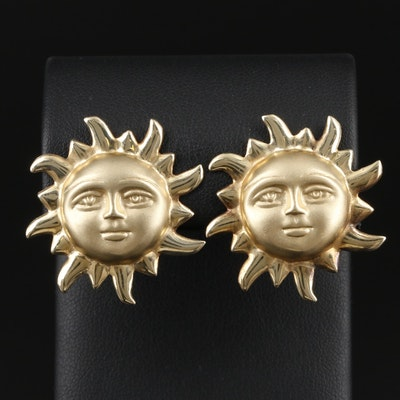 14K Yellow Gold Sun Earrings