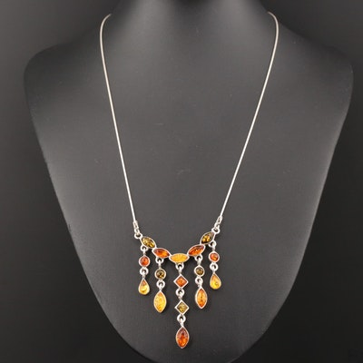 Sterling Silver Amber Bib Necklace