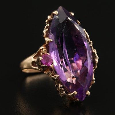 14K Yellow Gold 17.27 CT Amethyst and Ruby Ring