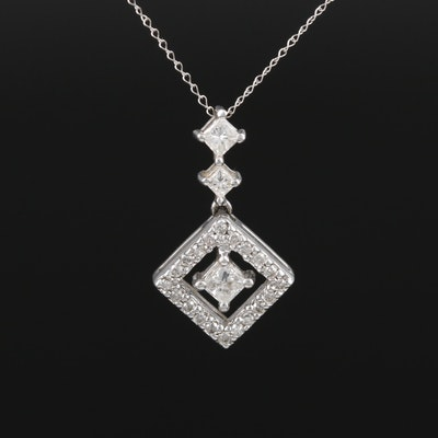 14K White Gold Diamond Pendant on Curb Chain Necklace