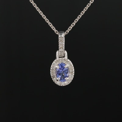 10K White Gold Tanzanite and Diamond Pendant on 14K Gold Cable Chain Necklace