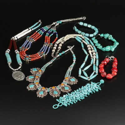 Necklace and Bracelet Selection Featuring Turquoise, Coral, and Howlite