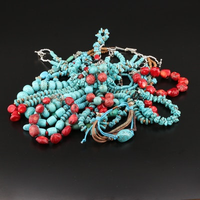 Bracelet and Necklace Selection Featuring Turquoise, Coral, and Howlite
