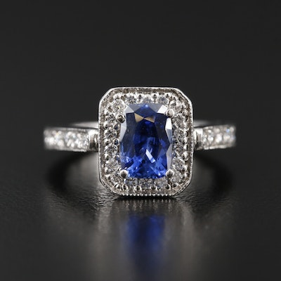 Platinum 1.52 CT Sapphire and Diamond Ring